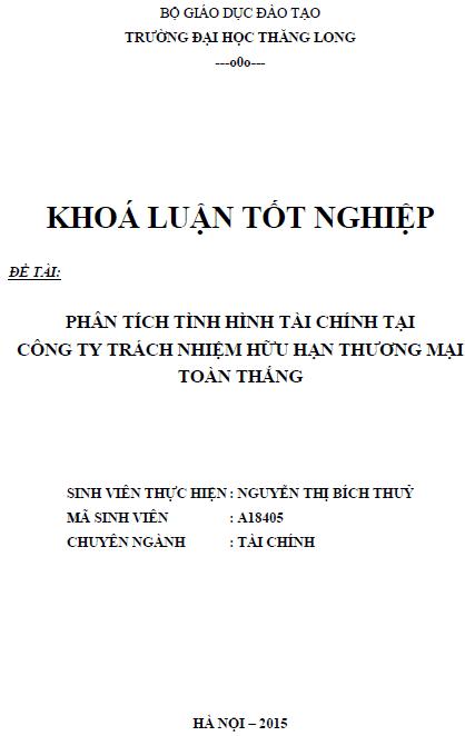 Phân tích tình hình tài chính tại Công ty TNHH Thương mại Toàn Thắng