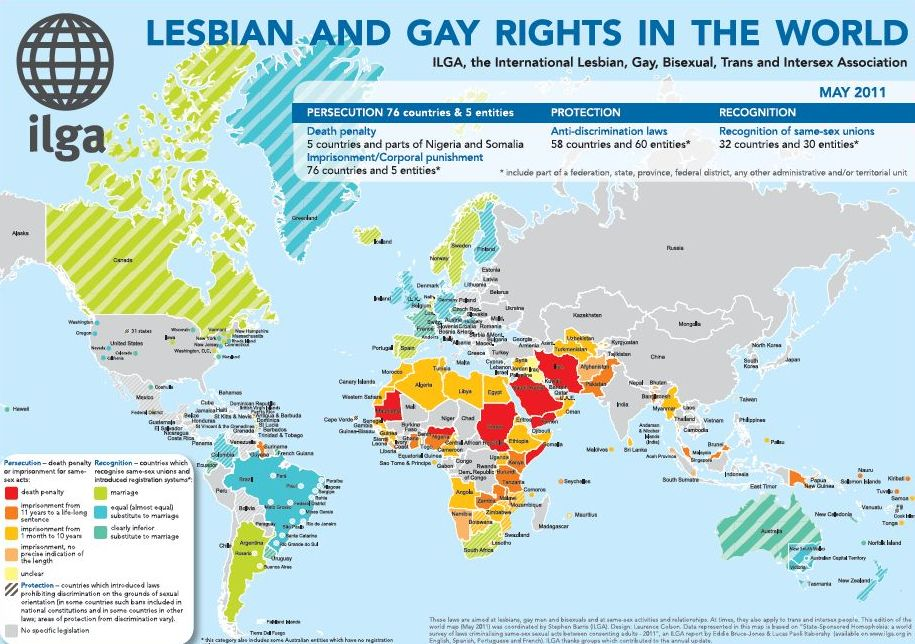 According to the International Lesbian Gay Bisexual Trans and Intersex