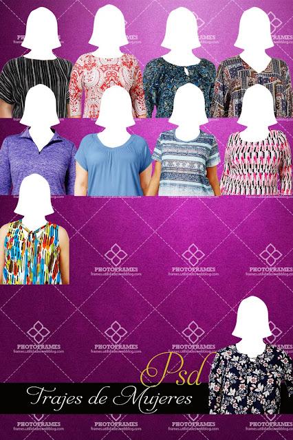 Plantillas de blusas para mujeres en Psd