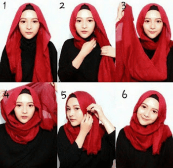 Tutorial hijab pashmina sifon Ria Ricis dari video youtube