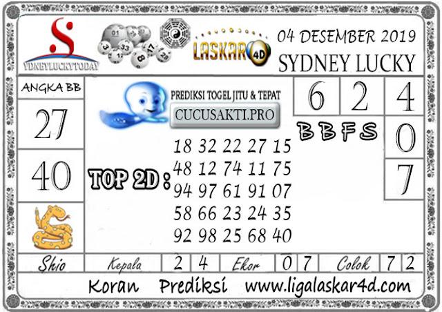 Prediksi Sydney Lucky Today LASKAR4D 04 DESEMBER 2019
