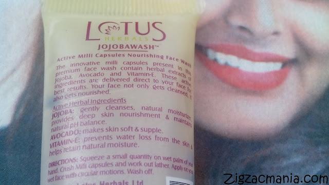 Lotus Herbals Jojobawash Active Milli Capsules Nourishing Face Wash: Ingredients