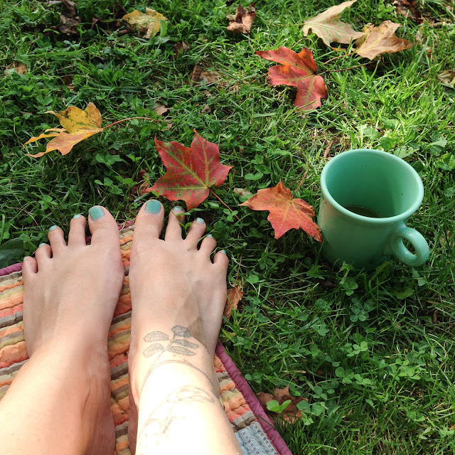 summer, autumn, colorful leaves, barefoot, garden, Anne Butera, My Giant Strawberry