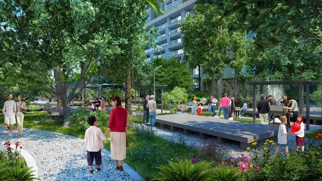 Khuôn viên cây xanh tại chung cư Imperia Sky Garden