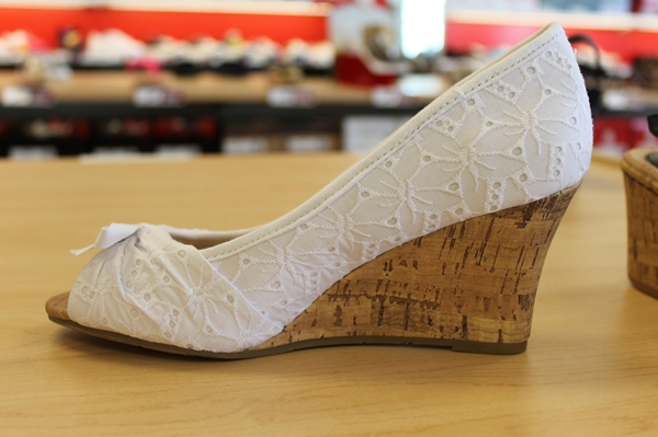 vintage inspired eyelet lace cork wedge shoe at famous footwear
