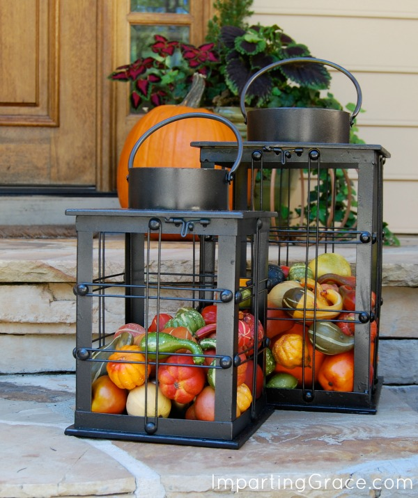 Imparting Grace  Easy outdoor decor for Fall I found these large lanterns