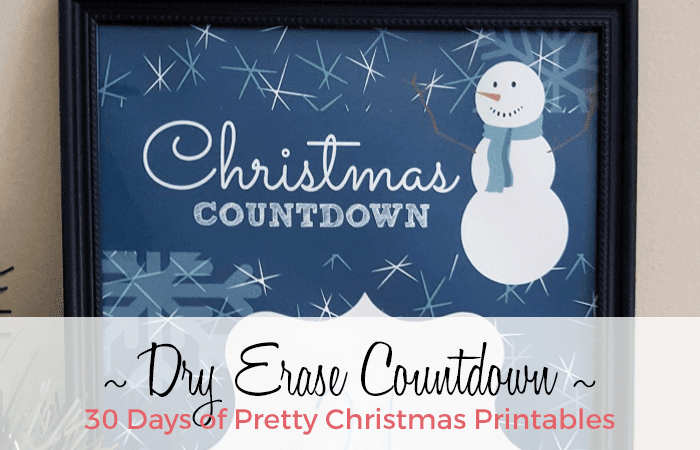 30 Days of Pretty Christmas Printables. This is a DIY Christmas Countdown from Southern Krazed. It's placed in a frame and you write on it with dry erase markers. Hosted by GradeOnederfulDesigns.com