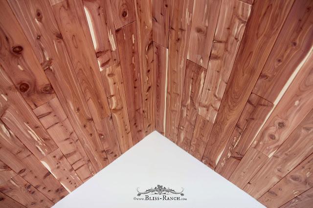 Playhouse Makeover Cedar Ceiling, Bliss-Ranch.com