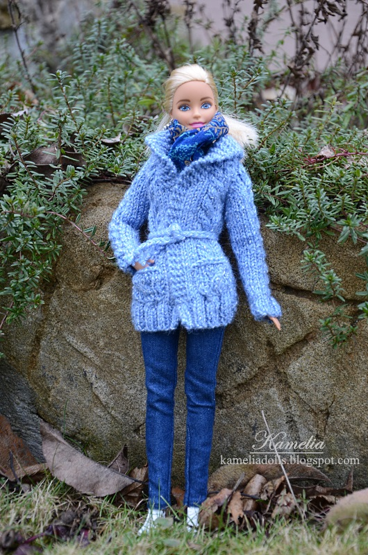 Hand-knitted sweater for Barbie doll.
