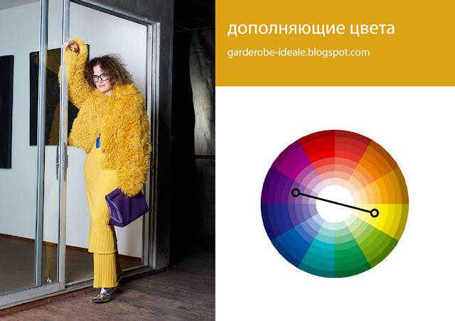 Сочетание дополняющих комплиментарных цветов желтого и фиолетового в одежде