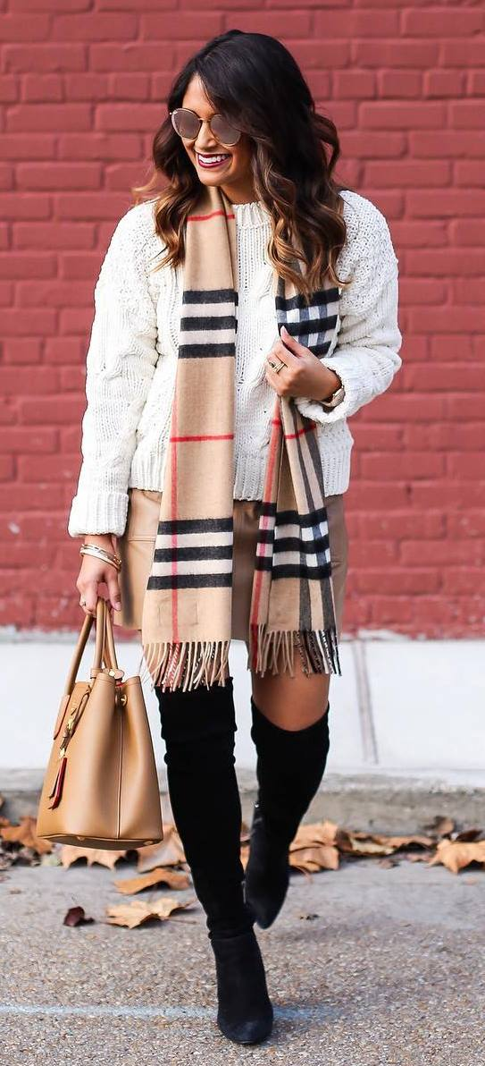 what to weat with a scraf: white knit + skirt + bag + over the knee boots