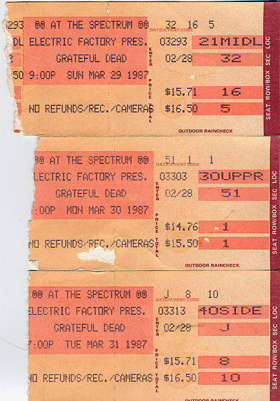 Grateful Dead, March 29, 30, and 31, 1987