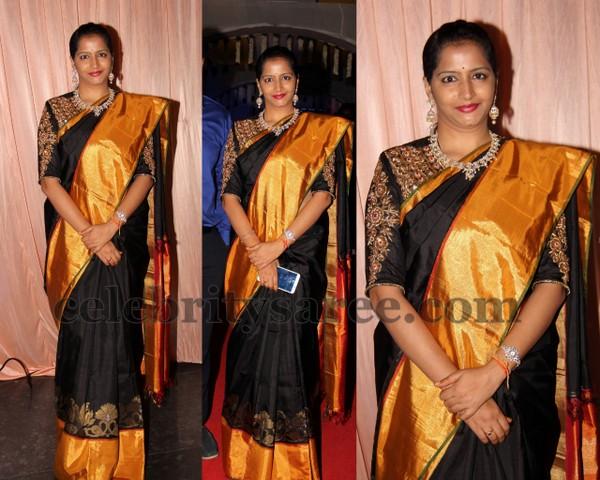 029f263a416e13 Black Silk Sari Elbow Length Blouse - Saree Blouse Patterns