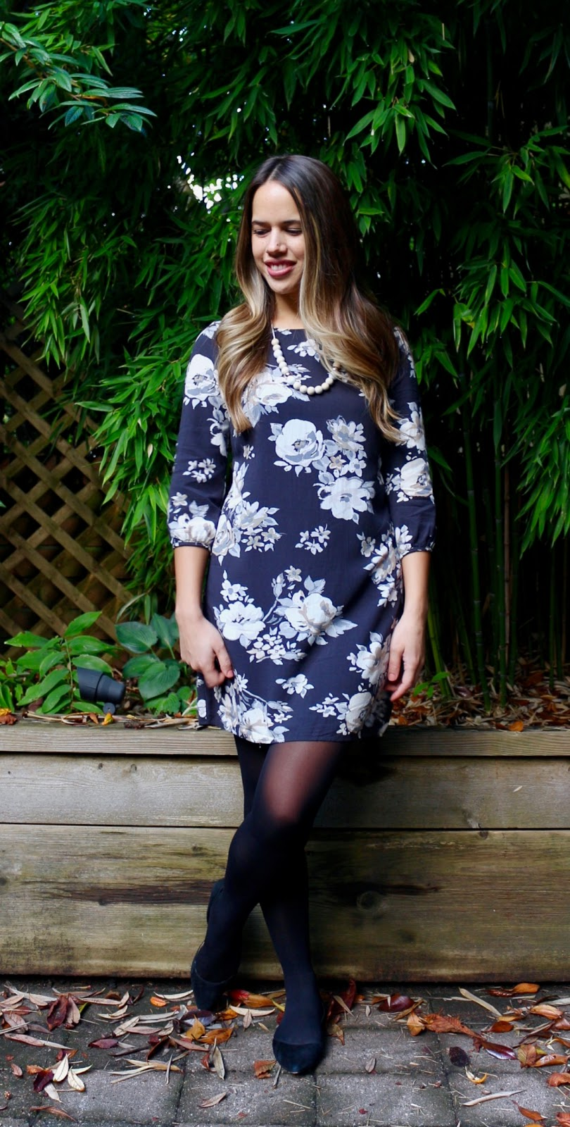 Jules in Flats - Floral Mini Dress (Business Casual Fall Workwear on a Budget)