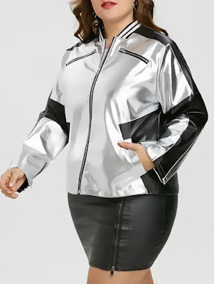 Faux Leather Panel Zipper Plus Size Jacket - Silver And Black - 2xl