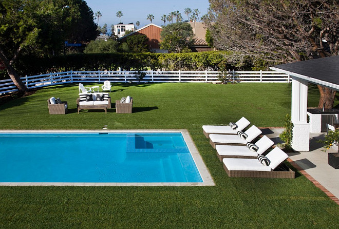 California dream beach house with navy white and green for Pool design layout