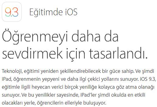 iOS 9.3 Yeni Özellikler