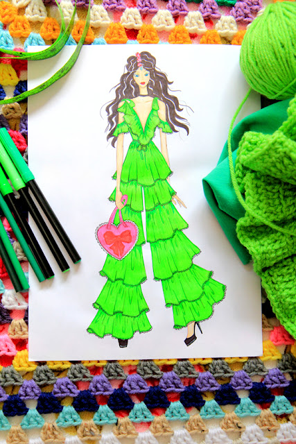 Greenery Fashion Illustration by Mademoiselle Mermaid