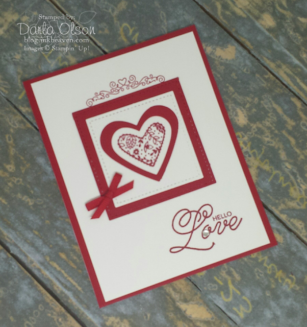 Stampin' Up! Sealed With Love, Hearts Framed by Stitched Shapes Square Framelits Card shared by Darla Olson at inkheaven