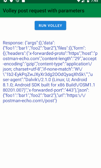 android kotlin - Volley post request with parameters