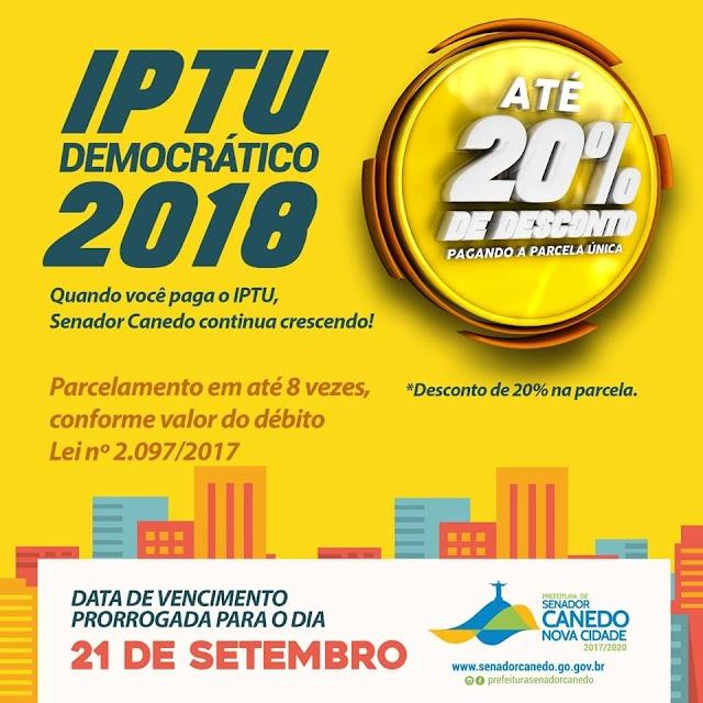Senador Canedo: Data para pagamento de IPTU com desconto é prorrogada