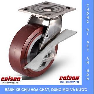 Bánh xe PU càng bánh xe đẩy inox chịu tải trọng | www.banhxepu.net