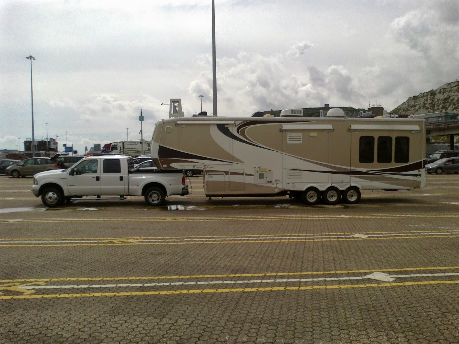5th wheel caravan on the ferry