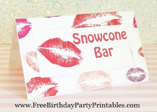 Free Lipstick Kisses Birthday Party Printables- Food Cards. Flag Bunting Banners, Cut Outs, Cupcake Toppers