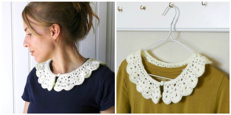 Crochet collar with flowers.