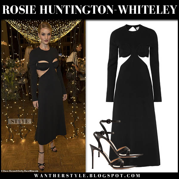 Rosie Huntington-Whiteley in black cutout midi dress dion lee red carpet style november 8