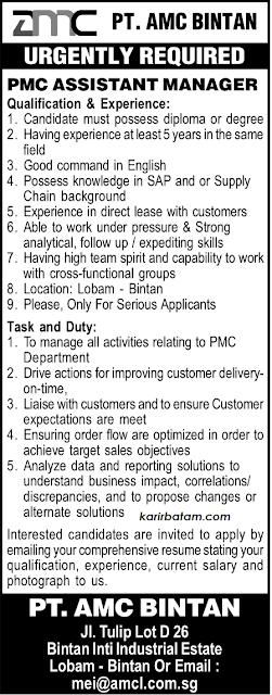 Lowongan Kerja PT. AMC Bintan