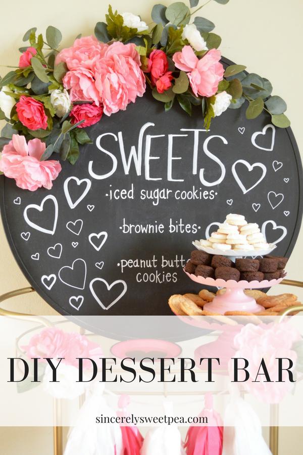 Mirror turned into dessert bar menu display with Rust-oleum's Chalkboard spray paint.