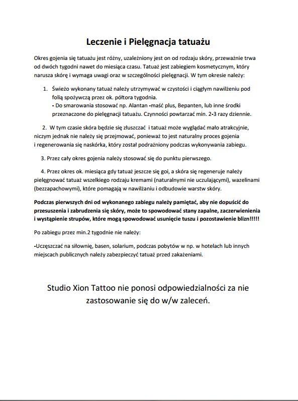 Leczenie I Pielęgnacja Tatuażu Dark Templar Tattoo Studio