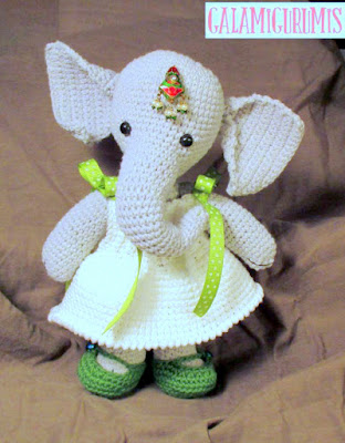 Crochet amigurumi elephant girl with dress and shoes