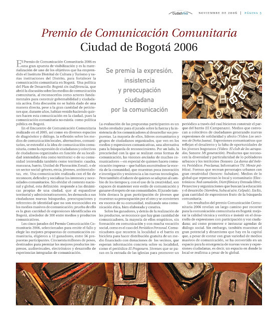 Premio de comunicación comunitaria del IDCT- 2006