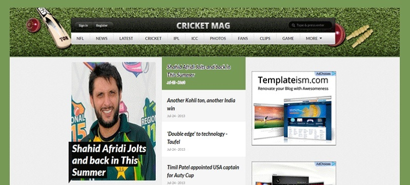 Cricket Mag Sports Website Blogger Template