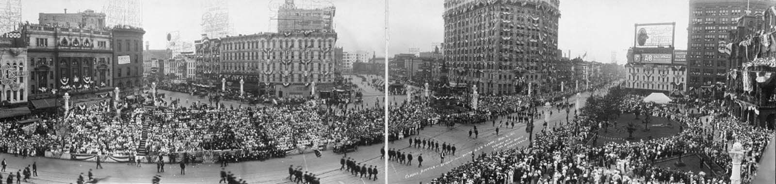 Parade of the Grand Army of the Republic during the 1914 meeting in Detroit, Michigan. 1914.