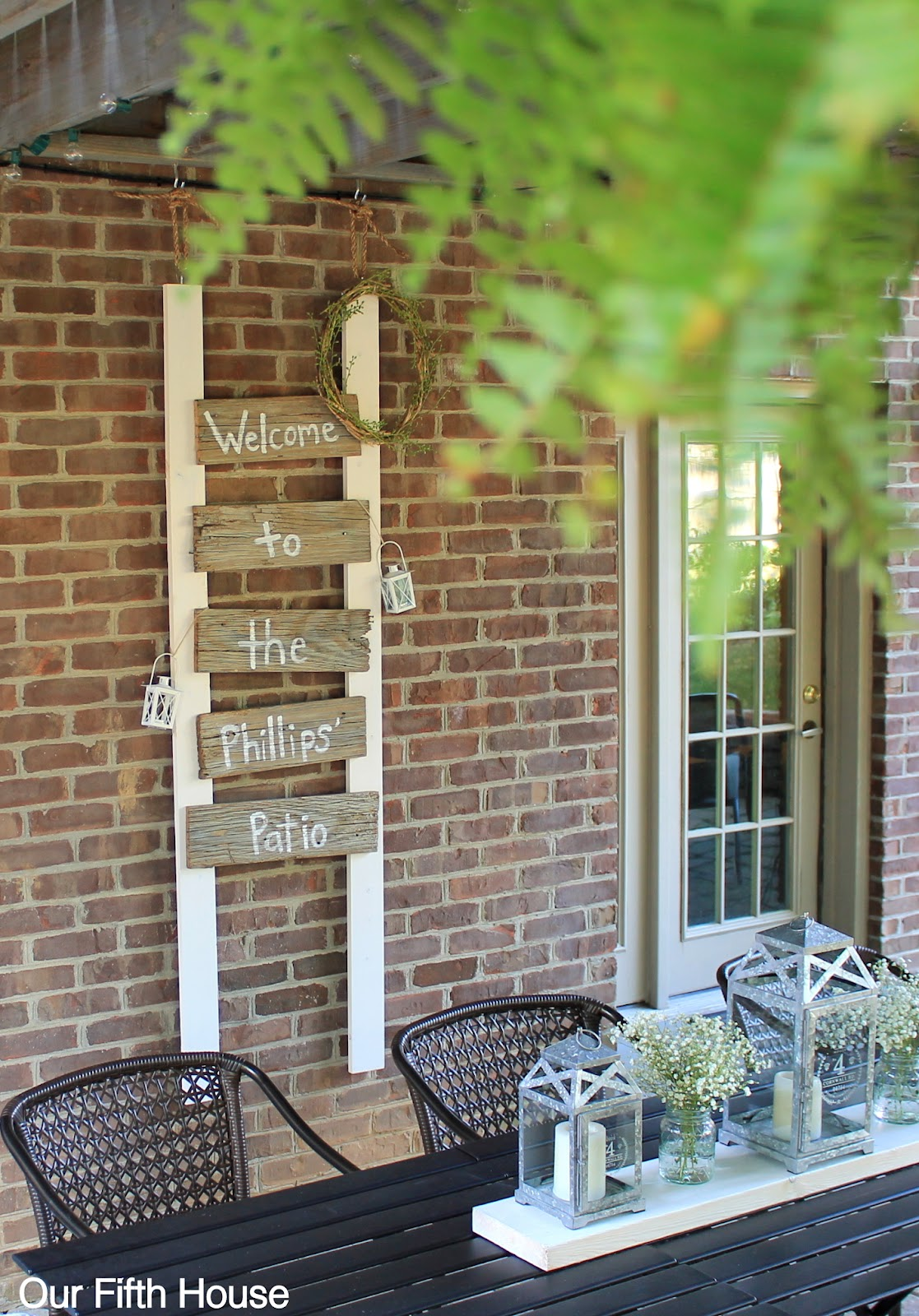 Diy old fence board patio sign our fifth house diy fence board patio sign baanklon Image collections