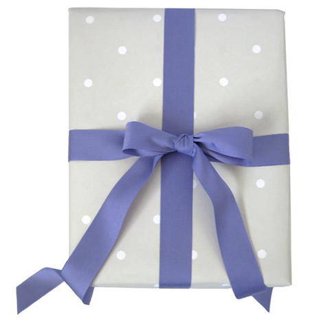 Gray Dot Wrap & Lilac Ribbon from The Love. Luck. Kisses & Cake Shop  |  SHOP.LLK-C.com
