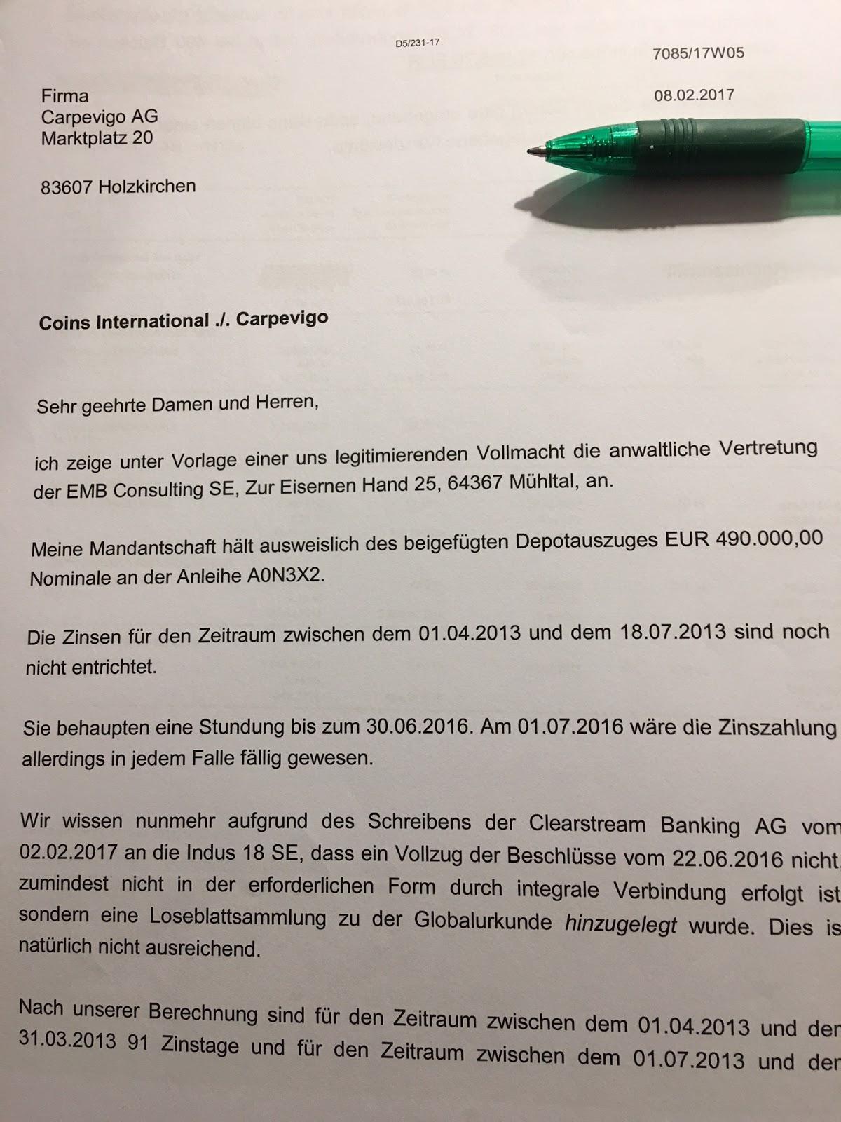 Rolfs Carpevigo Blog Zahlungsaufforderung Und Globalloseblattsammlung