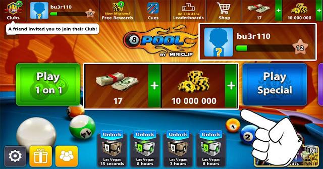 كوينز 8 ball pool مجانا 10 مليون كوينز بلياردو