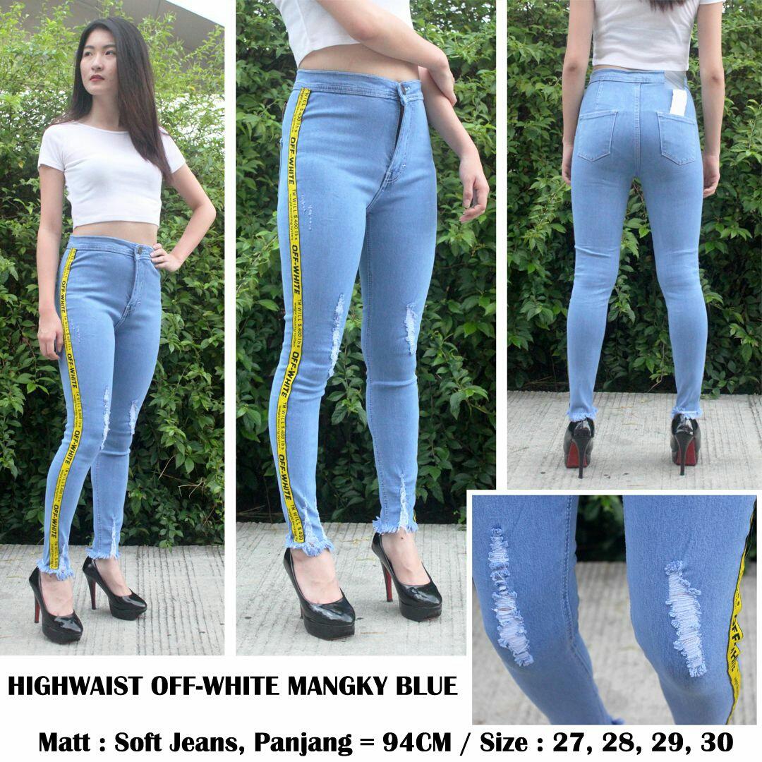 Highwaist off White Mangky Blue