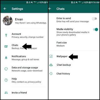 Cara mengganti wallpaper whatsapp via pengaturan