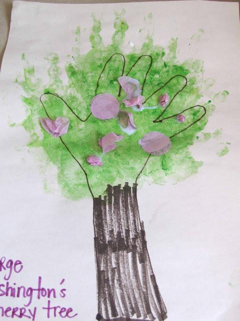 Cherry Blossom Hand Print Art