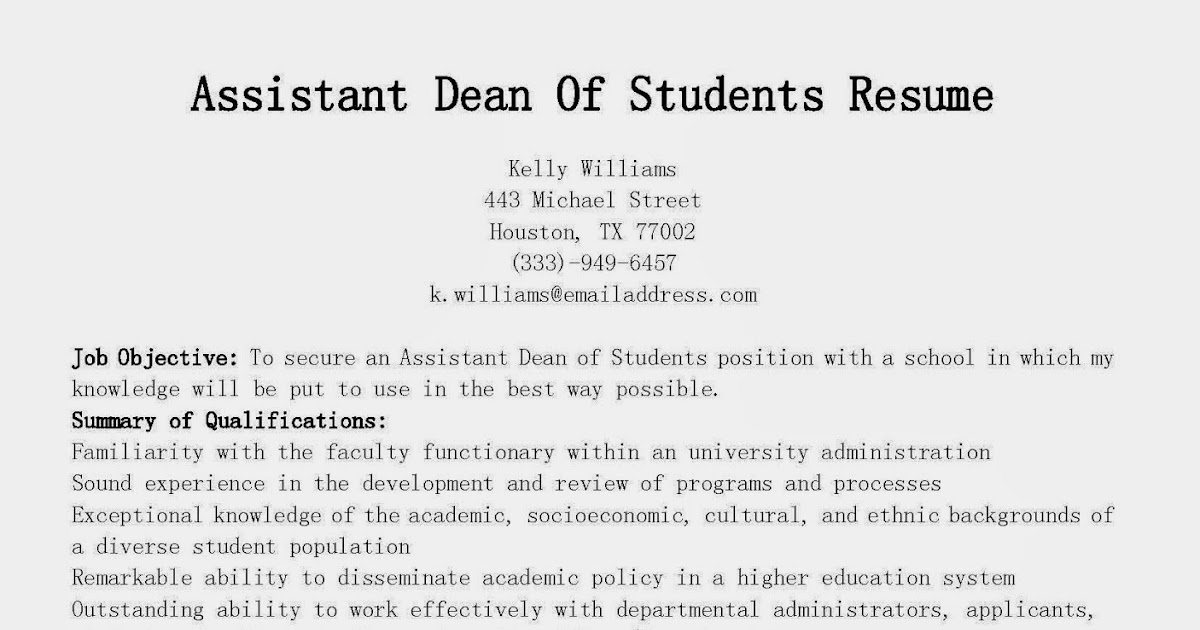 Resume Samples Assistant Dean Of Students Resume Sample