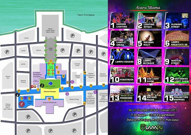 peta lokasi festival lampu putrajaya 2016