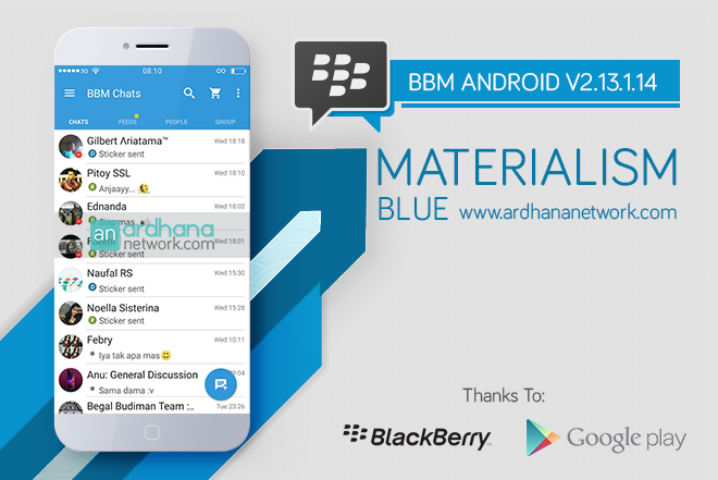 BBM Materialism Blue V2.13.1.14 - BBM MOD Android V2.13.1.14