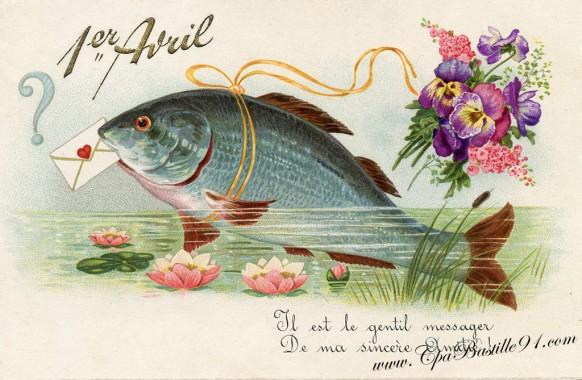 Carte postale ancienne Poisson d'avril