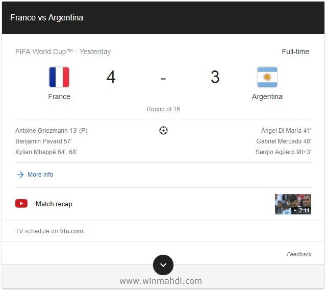 video pertandingan Prancis vs Argentina Piala Dunia 2018 Rusia
