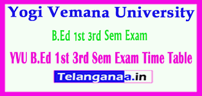 Yogi Vemana University B.Ed 1st 3rd Sem Exam Time Table